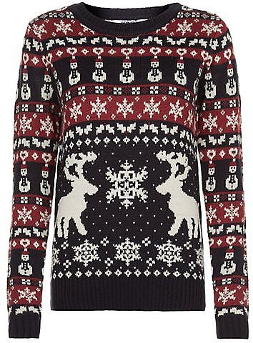 Navy and Red Reindeer Christmas Jumper