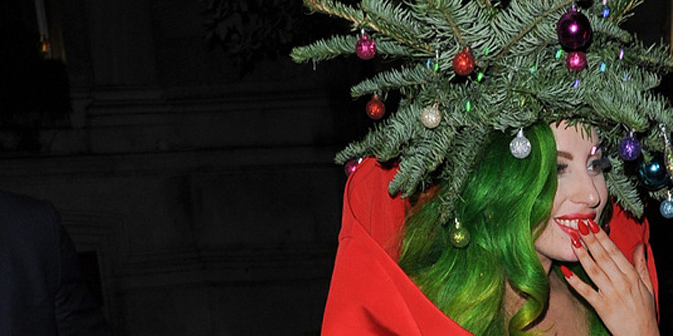Lady Gaga Literally Takes on a Christmas Tree