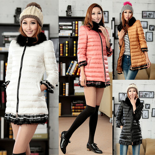 Discount winter fur collar down coat with lace hem winter outwear for woman Down & Parkas in women down parkas on sightface.com