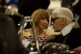 Anna Wintour sat in a car with Karl Lagerfeld.