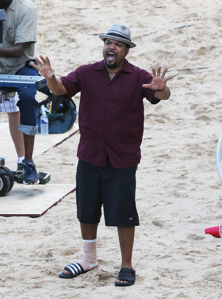 Ice Cube joined the cast on set at the beach.