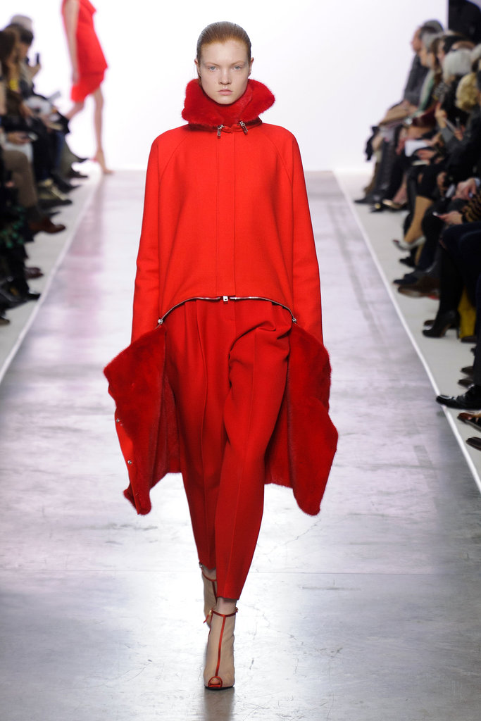 """Giambattista Valli got in on the trend and created this all-red look that's lined with fur. It might be a little too """"fashion"""" for Father Christmas, but it'd certainly keep him warm."""