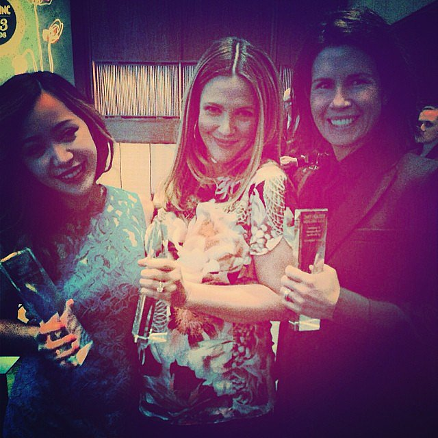Drew Barrymore celebrated her Beauty Inc. newcomer of the year award with fellow winners Michelle Phan and Gucci Westman. Source: Instagram user drewbarrymore
