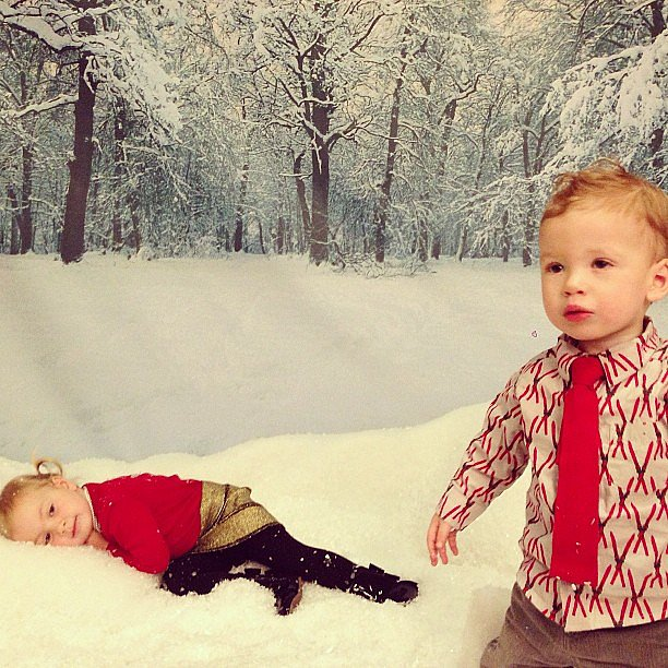 Hattie and Finn McDermott had a blast playing in the indoor snow at the Santa's Secret Workshop event in LA. Source: Instagram user torianddean