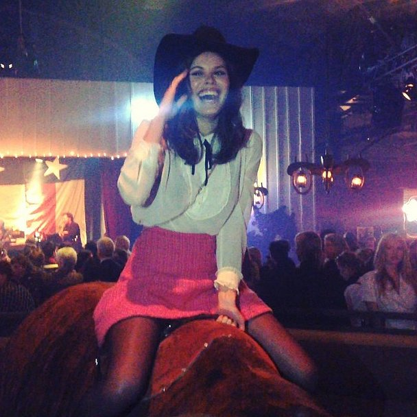 Ride 'em, cowgirl! Atlanta de Cadenet took a spin on a mechanical bull. Source: Instagram user lootin