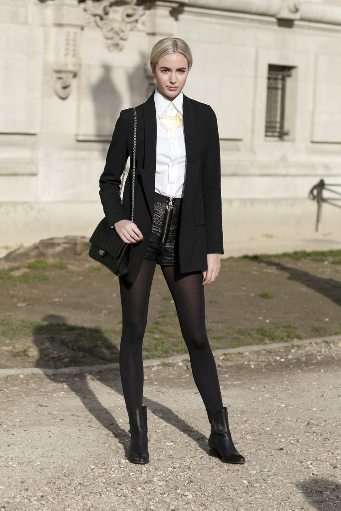 Skip skirts and dresses and make shorts work for Winter by pairing with black tights.