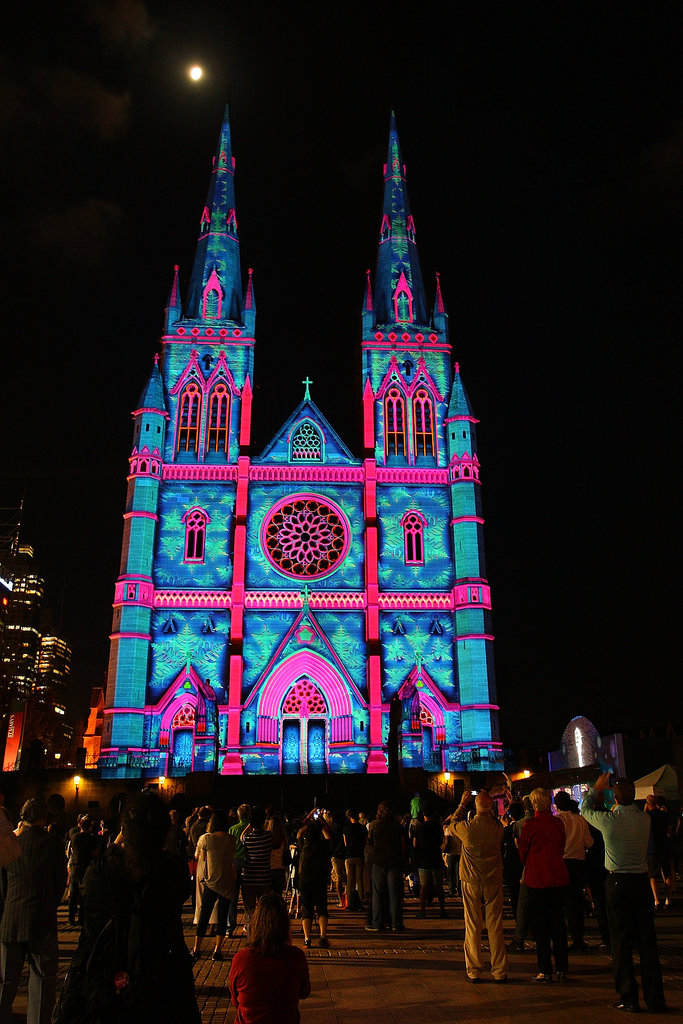 Colorful lights were projected onto St. Mary's Cathedral in Sydney, Australia.