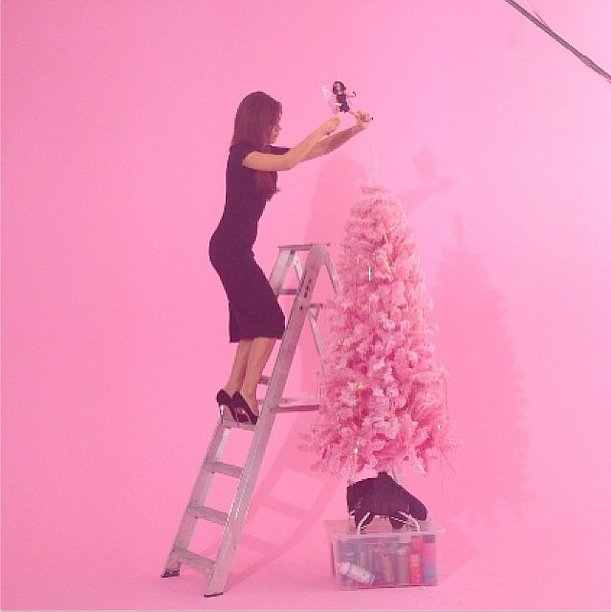 Ladders and stilettos were a dangerous mix for Victoria Beckham. Source: Instagram user victoriabeckham