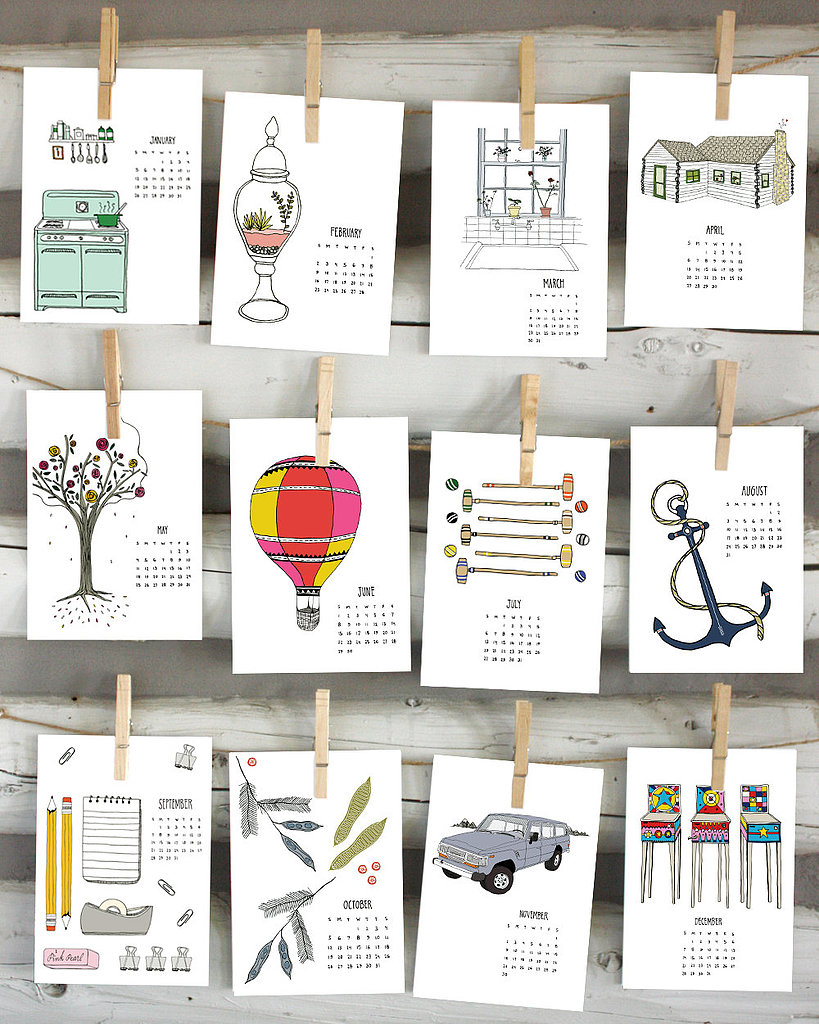 Each month, you'll be greeted with a quirky illustration when you hang this 2014 calendar ($25).