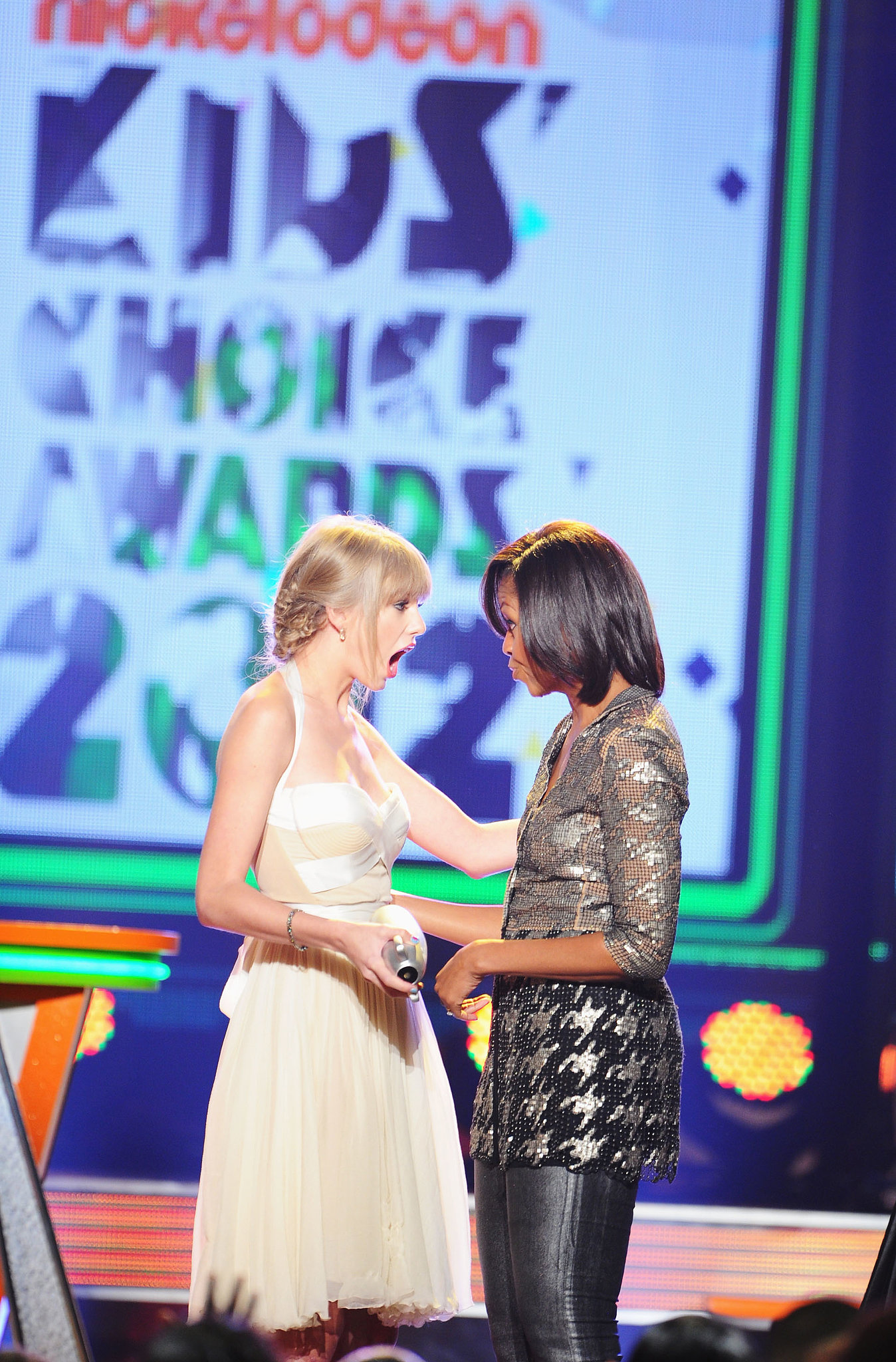 Taylor Swift wasn't expecting to be presented with an award by Michelle Obama at the Kids' Choice Awards in March 2012.