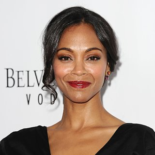 Zoe Saldana's Day-to-Night Updo and Red Lipstick