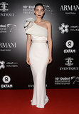 Hello, drama! Rooney Mara flew into Dubai for the Oxfam Charity Gala in a custom one-shoulder Lanvin gown.