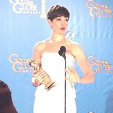 Anne Hathaway spoke after accepting her Golden Globe Award.