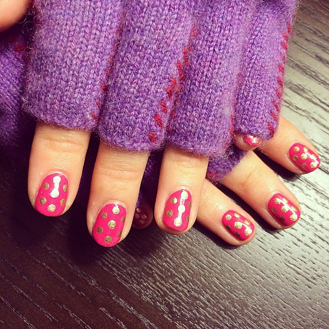 Of all our Instagram posts this week, this polka-dot manicure had the most clicks. We're not sure if it was the bright design or chic gloves that made it so popular.