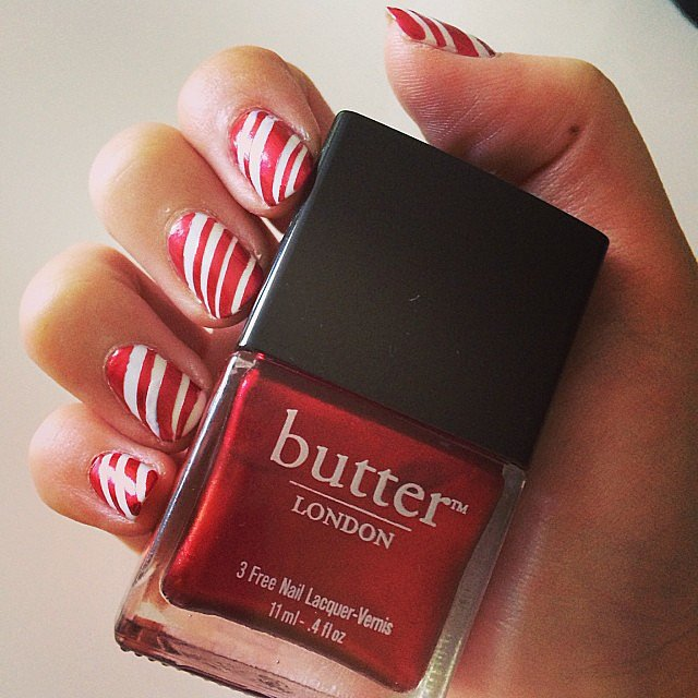 Christmas means the candy canes are in heavy supply. We know you loved the DIY body scrub last week, so the fact that this swirled nail design hit it big was no surprise.  Photo: Kaitlyn Dreyling