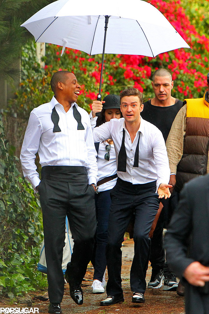 "Jay Z and Justin Timberlake's matching getups on the LA set of their video for ""Suit & Tie"" made for one great — and goofy — image."