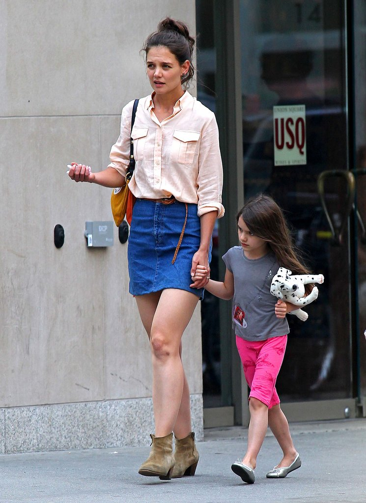 Suri, take note: Katie put an NYC spin on Westernwear in May 2012.