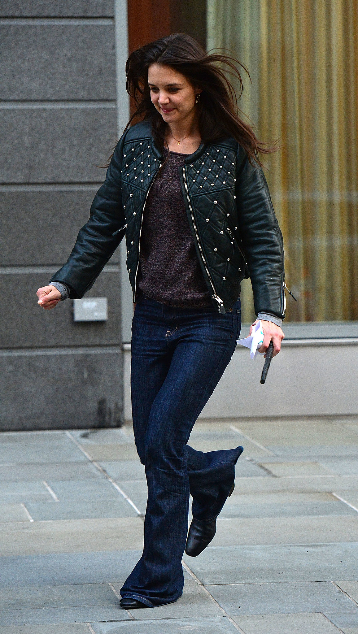 Katie's studded Isabel Marant leather jacket kept with the moody