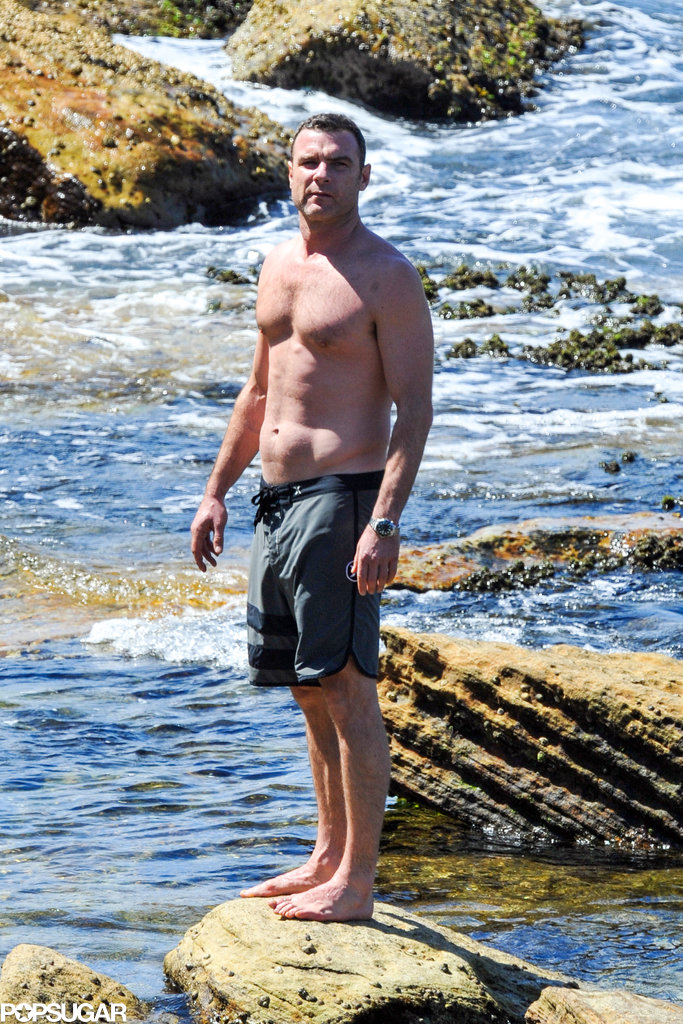 Liev Schreiber was surrounded by nature on the rocks.