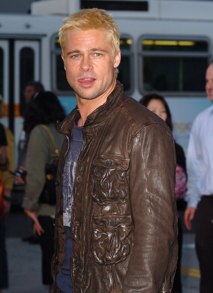 "A bleach-blond Brad Pitt said ""hey, girl"" to the crowd as he arrived for the LA premiere of Mr. and Mrs. Smith back in June 2005."