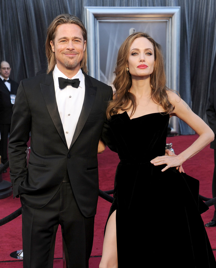 Brad Pitt may have been outshown by Angelina Jolie's leg at the 2012 Oscars, but he still looked ridiculously hot with his slicked-back hair and bow tie on the red carpet.