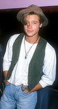 Brad Pitt rocked a hipster-cool look at an LA launch party in September 1989 — what a babe, right?