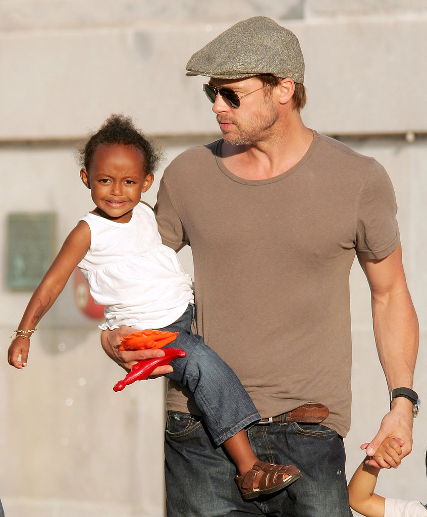 Aww! Brad Pitt held on to little Zahara Jolie-Pitt during a family trip to Chicago in August 2007.