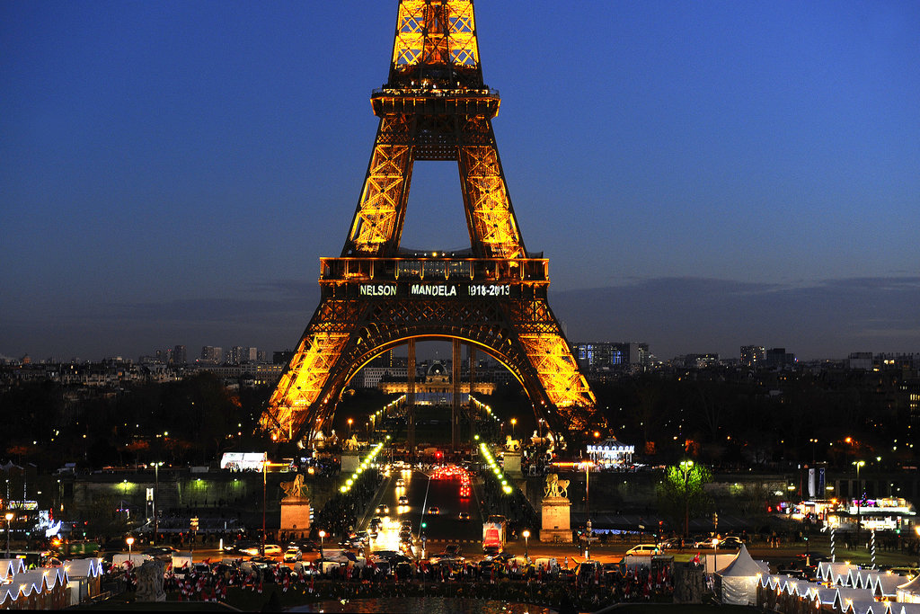 The Eiffel Tower was all aglow, featuring Nelson Mandela's name and the years of his life.