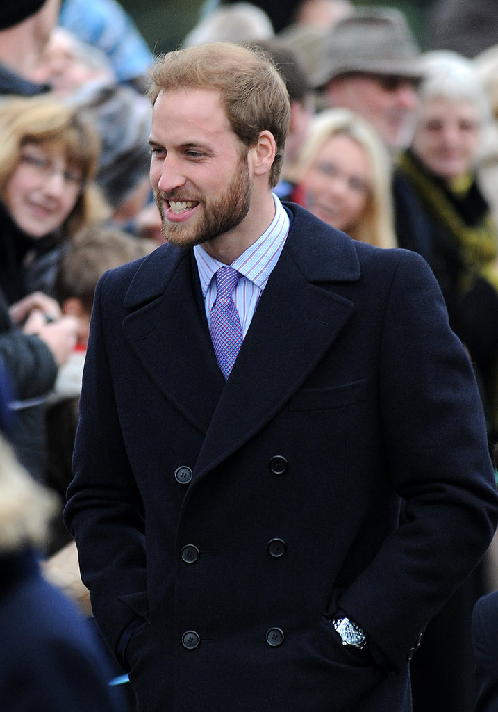 A bearded Prince William attended the Christmas Day service in 2008.