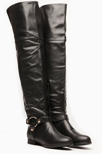 Wild Diva Side Hoop Thigh High Boots @ Cicihot Boots Catalog:women's winter boots,leather thigh high boots,black platform knee h