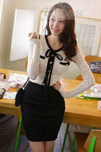 Handsome New Arrival Bow Knot Split Joint Lace Sheath Dress