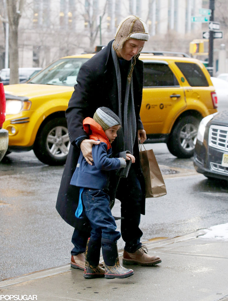 Matthew McConaughey stayed close to Levi in NYC.