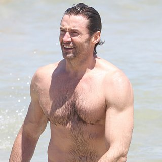 Hugh Jackman Shirtless at the Beach