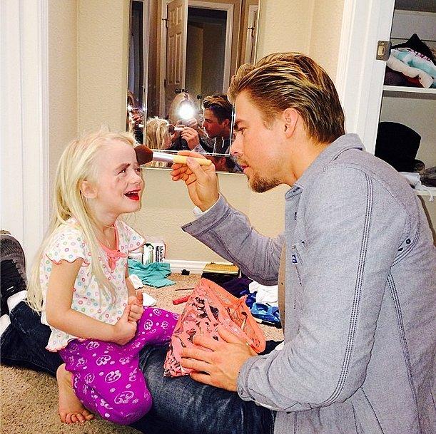 Makeup crisis averted! Derek Hough stepped in as makeup artist for his niece. Source: Instagram user derekhough