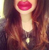 Lucy Hale puckered up with a pair of wax lips. Source: Instagram user lucyhale