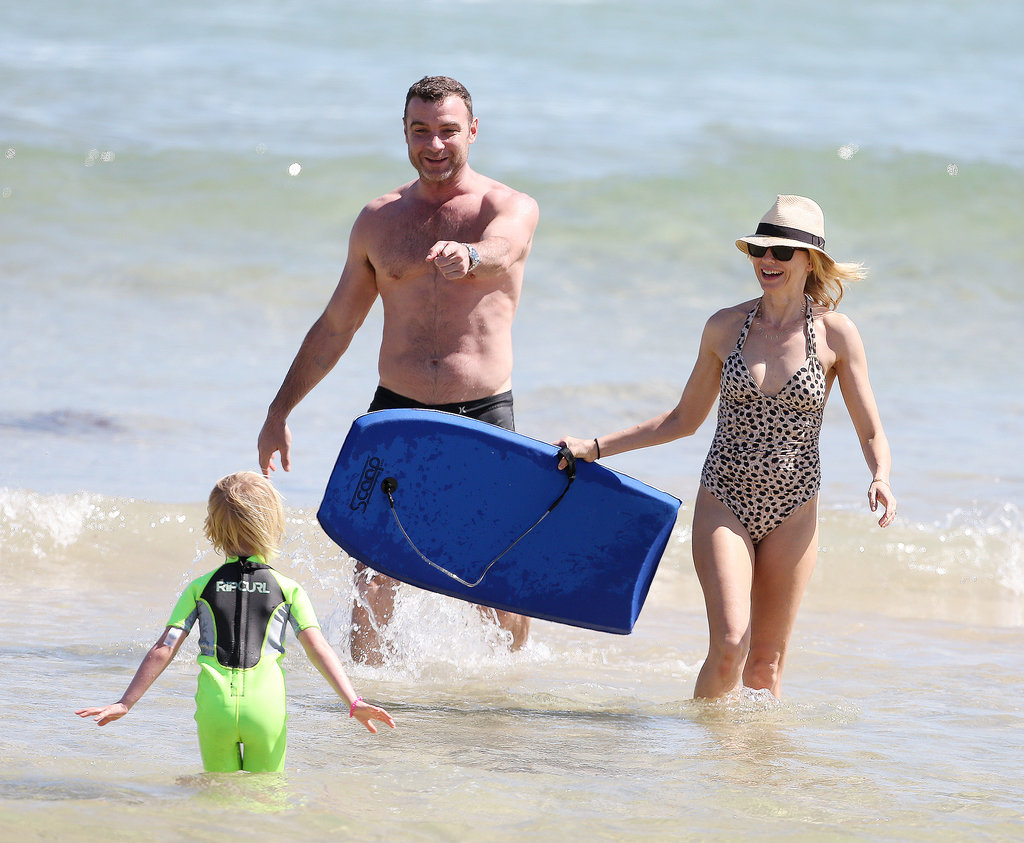 Liev Schreiber hit the beach in Sydney with Naomi Watts and their sons in December 2013.