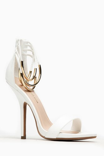 Wild Diva Bangle Ankle Strap White Heels @ Cicihot Heel Shoes online store sales:Stiletto Heel Shoes,High Heel Pumps,Womens High