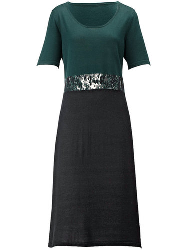 Anna Aura - Knitted dress with 1/2-length sleeves - Black/pine green
