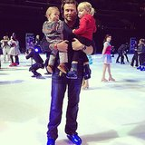 Dean McDermott had his hands full with Finn and Hattie during Disney on Ice. Source: Instagram user torianddean
