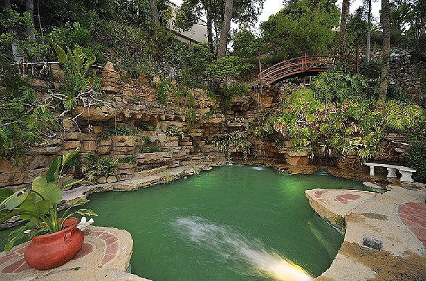 Surrounded by plants and trees, the pool has a lush lagoon vibe. Source: Teles Properties