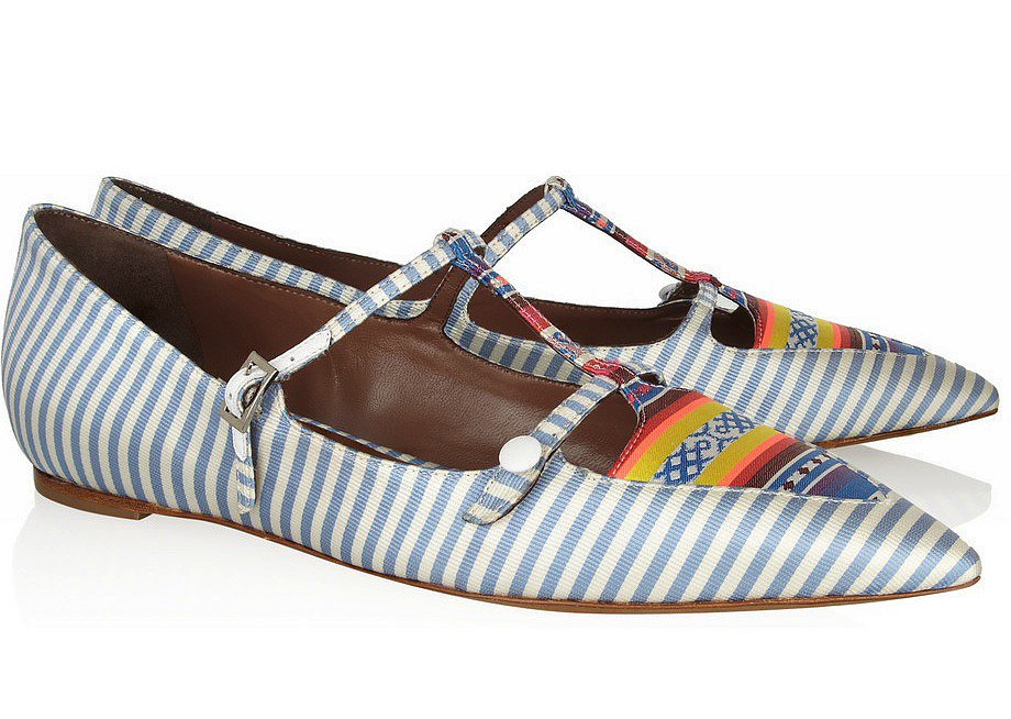 Tabitha Simmons, Heart Striped Silk-Twill Point-Toe Flats ($775)
