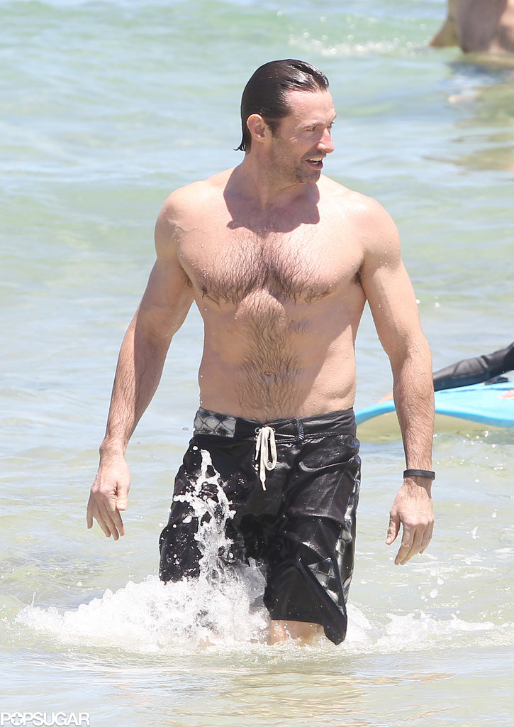 Hugh Jackman bared his fit physique on Bondi Beach during a trip to his native Australia.