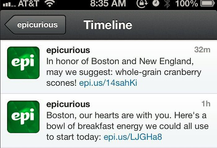 Epicurious's Insensitive Boston Marathon Tweets