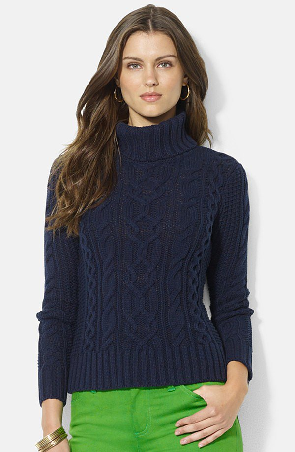 Lauren Ralph Lauren Cable-Knit Turtleneck Sweater ($109)