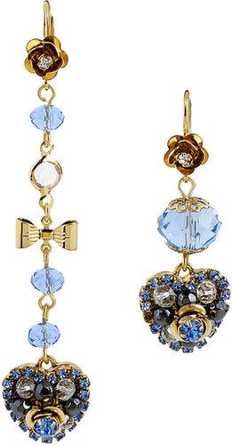 Hanging Hearts Blue Drop Earring
