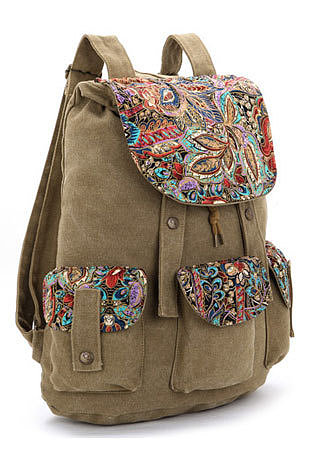 Folk Style Retro Floral Print Canvas Backpack