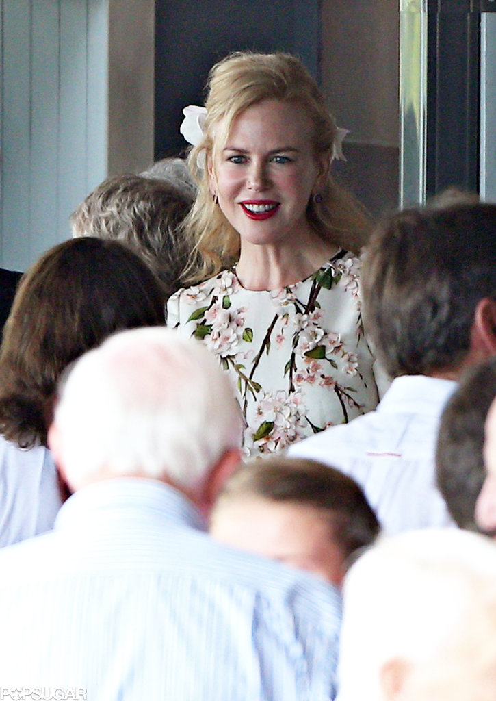 Nicole Kidman wore classic red lipstick to the bash.