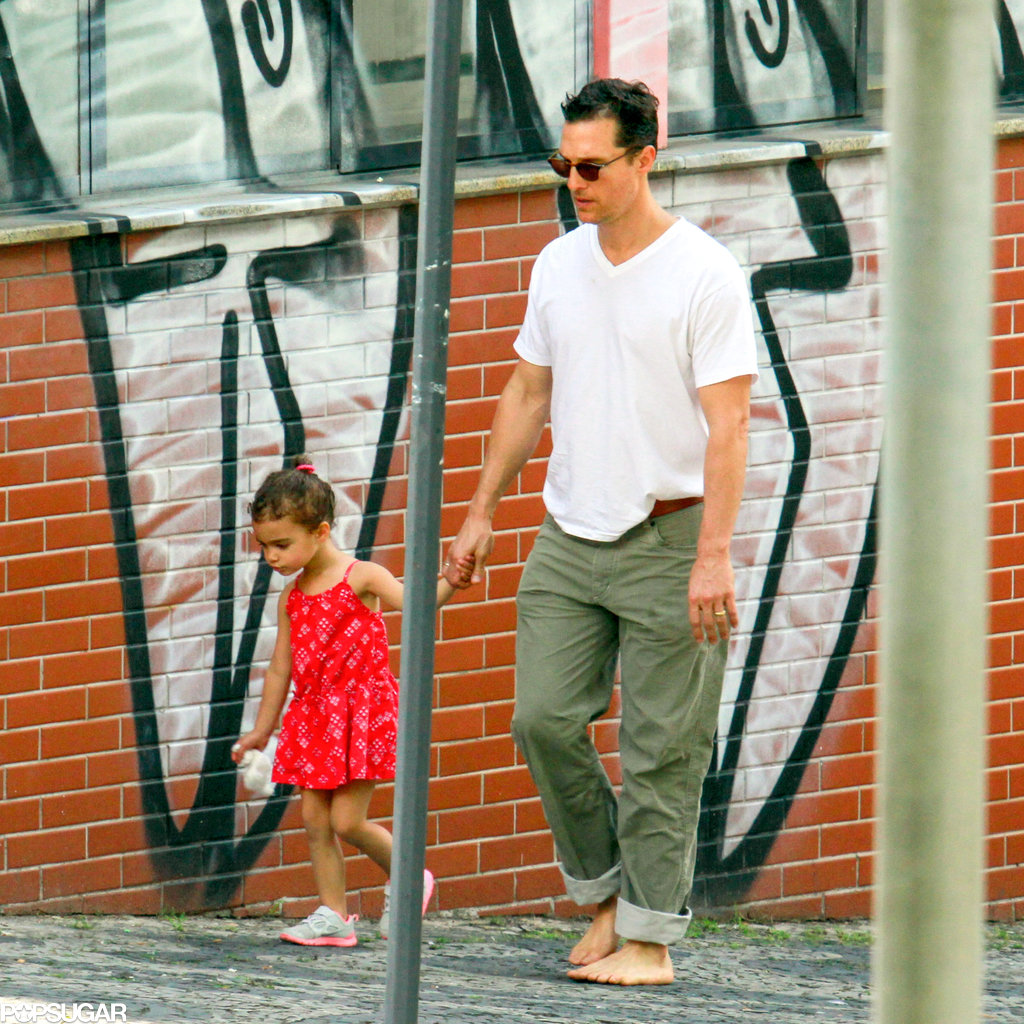 Matthew McConaughey walked around barefoot with his daughter, Vida, in Brazil.