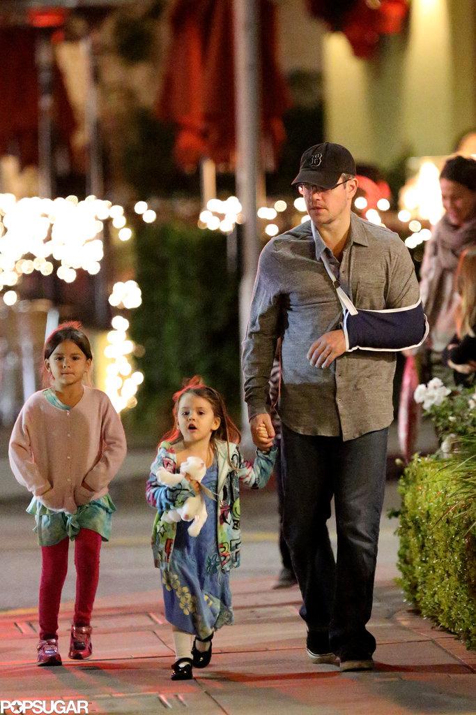 Matt Damon went to dinner in LA's Brentwood neighborhood.