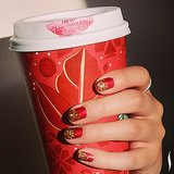 Sephora got into the holiday spirit later in the year with a lipstick-marked Starbucks cup and a festive red-and-gold manicure. Source: Instagram user sephora